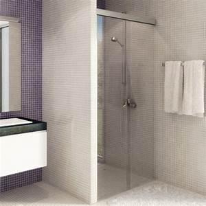 systeme porte coulissante pour douche kit eku banio light With porte de douche coulissante avec miroir salle de bain sans buee