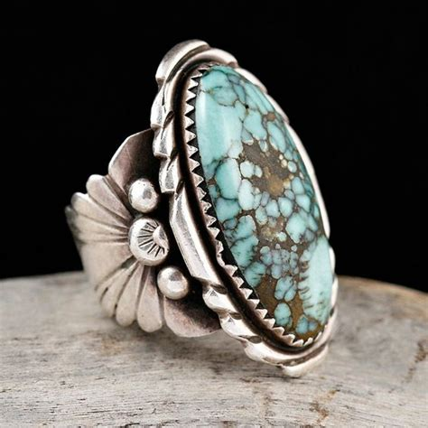 VINTAGE Natural Turquoise Ring 7 Sterling Silver Navajo