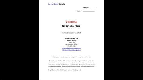 business plan cover sheet