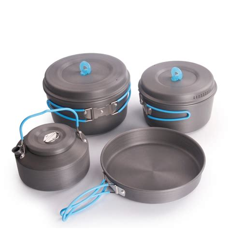 camping pans cookware handle cooking foldable ultralight pan pot kit outdoor tableware pepoles