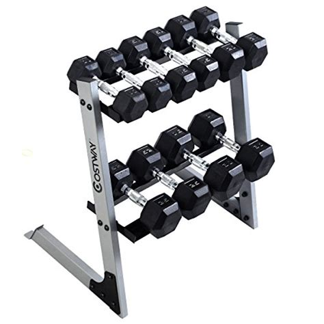 giantex dumbbell weight storage rack stand home gym bench base     lb plates