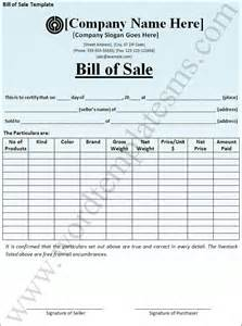 Bill Of Sales Exle by Bill Of Sale Template Page Word Excel Formats