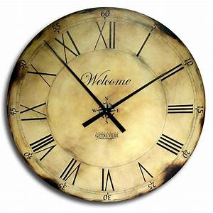 18in, Large, Antique, Style, Big, Wall, Clock, Art