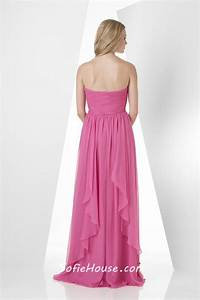 a line strapless sweetheart long pink chiffon ruffle With pink dresses for wedding guests