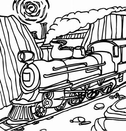 Steam Train Coloring Mountain Through Passing Trains