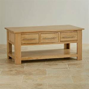Rivermead 6 drawer coffee table in natural solid oak for Coffee table with drawers and shelf