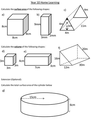 Maths Worksheets Volume And Surface Area Homeshealthinfo