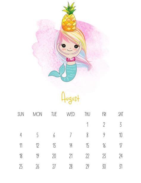 printable  kawaii mermaid calendar calendario