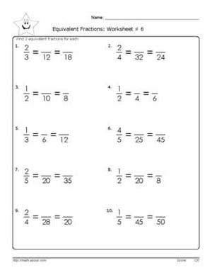 printable equivalent fractions worksheet  grade