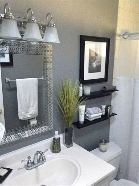 Rustic and quirky, this bathroom rules wall art would look ultra cute in a farmhouse styled bathroom. 40 Perfect Gray Half Bathroom Decorating Ideas On A Budget - Gongetech