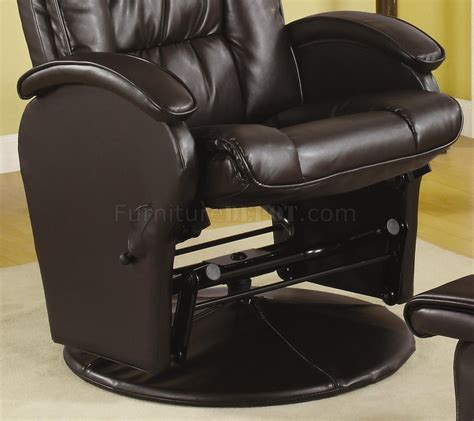 brown vinyl modern swivel glider chair w ottoman