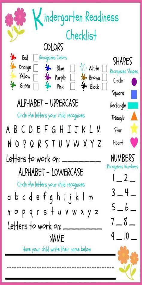 kindergarten readiness checklist   great