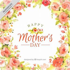 Watercolor Happy Mother's Day full of flowers background ...