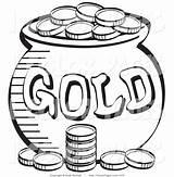 Coloring Money Leprechaun Coins Patricks Sheet Stack Places sketch template