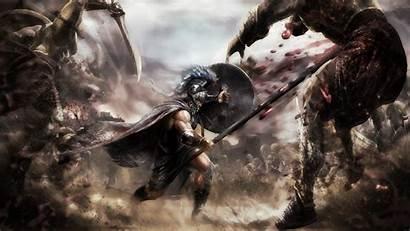 Warrior Battle Greek Sword Shield War Spear