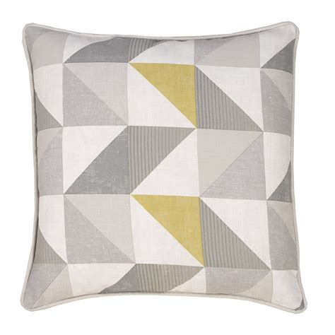 delta grey yellow luxury filled square cushion julian charles