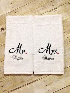 mr mrs hand towels with last name mr and mrs towels With embroidered towels for wedding gift