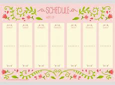 Weekly schedule with vintage flower design Free