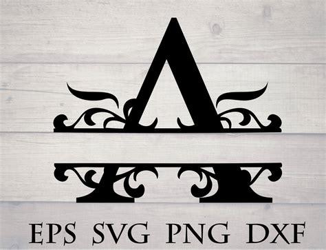 monogram split letter svg divided initial  svg swirl etsy