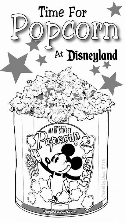 Popcorn Coloring Disney Mickey Bucket Colouring Disneyland