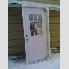"""New 36""""x80"""" Steel Exterior Door W 9lite Glass, Builtin"""