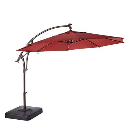patio umbrella replacement canopy home depot hton bay 11 ft led offset patio umbrella in