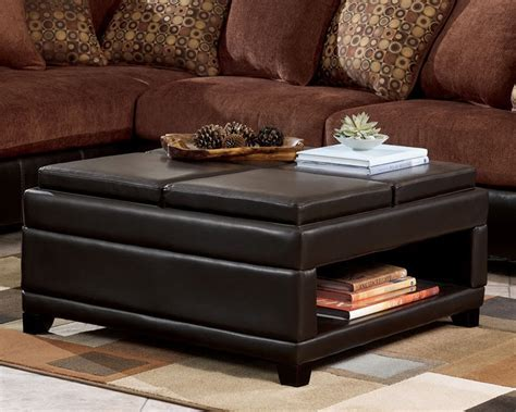 Dark Brown Leather Convertible Ottoman Coffee Table With