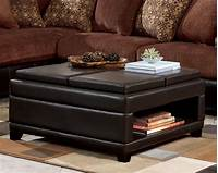 coffee table ottoman Dark Brown Leather Convertible Ottoman Coffee Table With Bookshelf And Wooden Legs For Living ...