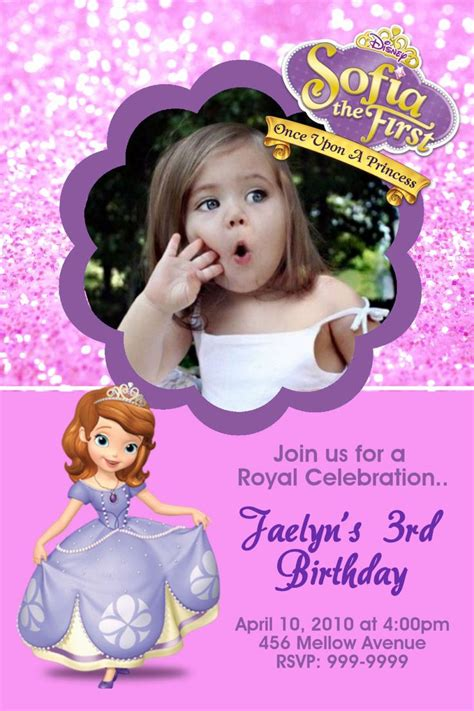 free printable photo birthday cards sofia the first birthday party invitations ajordanscart com