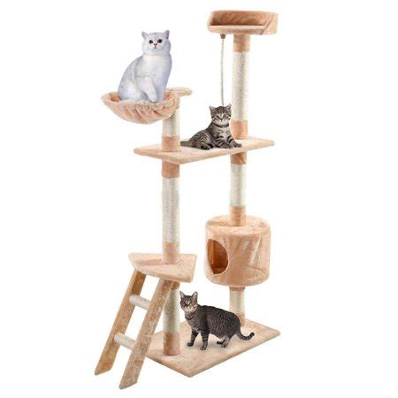 cat tower with hammock ktaxon 60 quot beige cat tree tower condo scratcher furniture