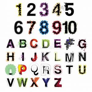 set of artistic vector colorful modern decorative alphabet With decorative letters and numbers