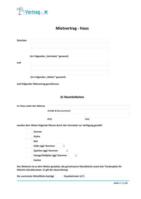 Mietvertrag Haus › Mietvertrag Muster
