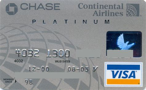They are offered in two design options: Continental Airlines Chase Platinum (Chase, United States of America) Col:US-VI-0376   Credit ...