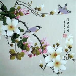 Japanese Flower Art Paintings Bird