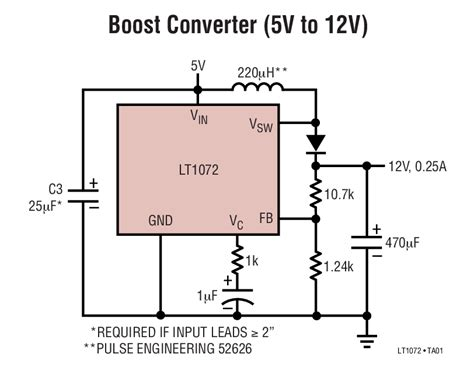 Circuit Diagram 12v To 6v by Lt1072 Boost Converter 5v To 12v Circuit Collection