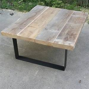 reclaimed wood coffee table with steel legs by tablesforasteel With reclaimed wood coffee table metal legs