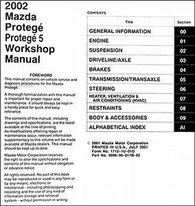 2002 Mazda Protege And Protege 5 Repair Shop Manual Original
