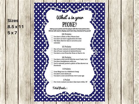 what s your phone navy modern what s in your cellphone baby shower