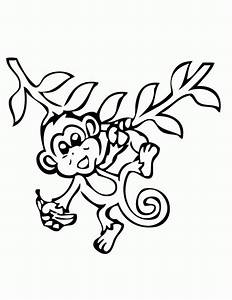 Hanging Monkey With Banana Coloring Page | H & M Coloring ...