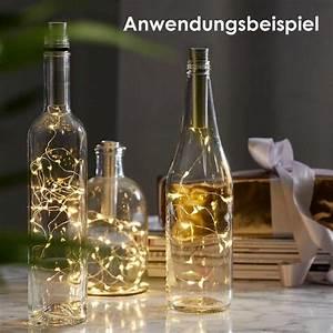 Flasche Mit Lichterkette : led draht lichterkette flaschenverschlu 2 farben timer ~ Frokenaadalensverden.com Haus und Dekorationen