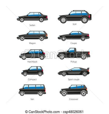 Types Of Automobiles List by Car Or Automobile Type Names Vector Flat Isolated
