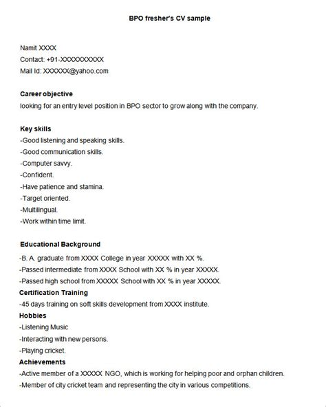 sle resume for experienced candidates in bpo krida info