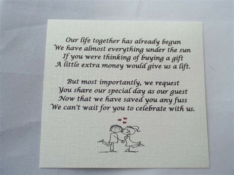 small wedding gift poem cards   money cash