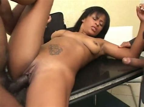 Sexy Ebony Slut Gets Two And Half Dicks Rammed Deep In Her