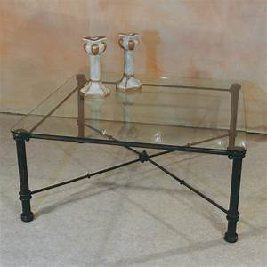 table basse en fer forge et verre fabrication francaise With table basse fer forge