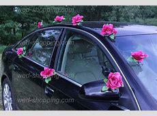 Deco de voiture de mariage Bourgogne roses et le coeur