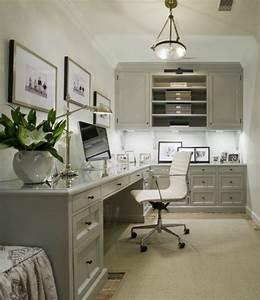 Built In Office Desk - Transitional - den/library/office