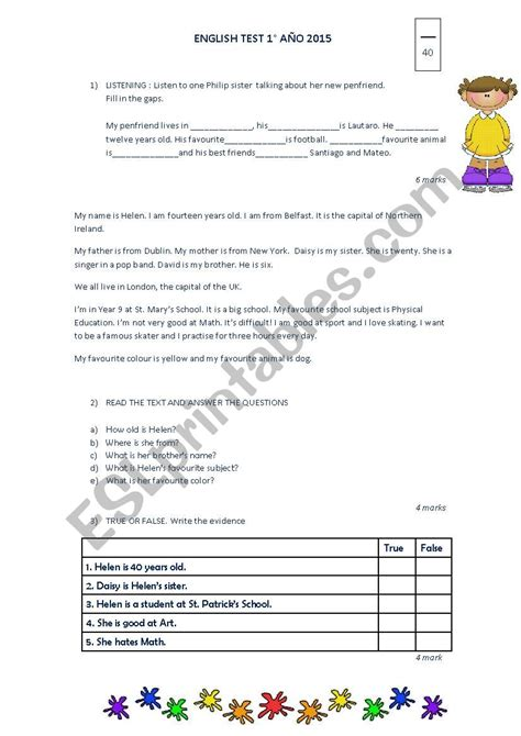 test esl worksheet  carkar
