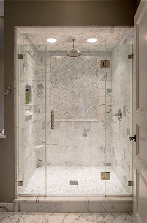 Incredible Glass Front Shower With Calacatta Marble Tiled