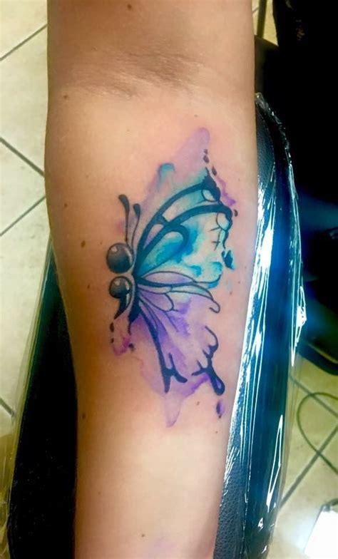 watercolor semi colon butterfly  shawn elliott  ikonic